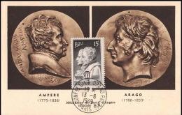 0598/ Carte Maximum (card) France N°845 F. Arago Et Ampère Congres De L Uit 13/6/1949 Fdc Premier Jour - ....-1949
