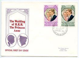 Pitcairn Island 1973 Scott 135-136 FDC Royal Wedding - Princess Anne - Timbres