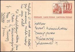 2215/ Suisse (Swiss) Entier Stationery Carte Postale (postcard) N°224 Pour Nuremberg Allemagne (germany) Ambulant - Interi Postali