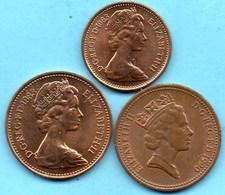 (r65) GRANDE BRETAGNE  1/2 Pence 1983 + 2 X 1 Pence Dif Effigy 1983 + 90  ELIZABETH II - 1971-… : Monnaies Décimales