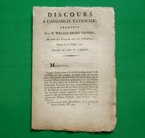 D-FR Révolution 1790 Discours Par William Henry Vernon, Au Nom Des Citoyens Unis De L'Amérique - Documents Historiques