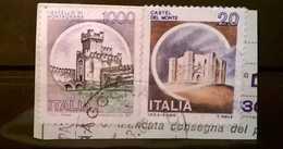 FRANCOBOLLI STAMPS ITALIA ITALY 1980 SU FRAMMENTO VARIETA ANOMALIA CASTELLI MONTAGNANA STAMPA DEBOLE O MANCANTE - 6. 1946-.. Repubblica