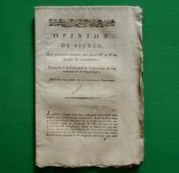 D-FR Révolution 1795 Opinion De SIEYES Sur Plusieurs Articles Des Titres IV Et V Du Projet De Constitution - Documents Historiques