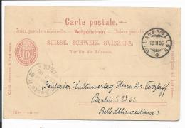 Schweiz P 19 Z - 10 C. Wappen M. Rs Zudruck Suchard  V. Villars S. Ollon Nach Berlin Bedarfsverwendet - Entiers Postaux