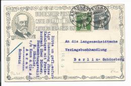 Schweiz P 60-02  -  7 1/2 C. Tell  Bundesfeierkarte 1919  M. 5 C. ZF M. Ambulant-Stempel Nach Berlin Bedarfsverwendet - Entiers Postaux