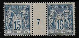 Sage N° 101  Paire Millésime 7 ** - 1876-1898 Sage (Type II)