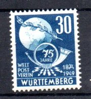 Wurttemberg  / N 48 / 30 Pf + 15 Pf Bleu / NEUF Avec Trace De Charnière - Wurttemberg