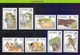 Mwp022 FAUNA ZOOGDIEREN VOGELS NIJLPAARD HERT KAT BIRDS CAT DEER HIPPO CROCODILE MAMMALS WILDLIFE GAMBIA 1988 PF/MNH - Briefmarken