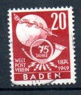 Baden / 20 Pf Rouge / Oblitéré - Baden