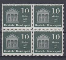Bund 258 4er Block 350 Jahre Ludwigs Universität Justus Liebig 10 Pf Postfrisch  - BRD