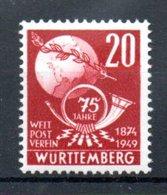 Wurttemberg  / N 51 / 20 Pf Rouge / NEUF Avec Trace De Charnière - Wurtemberg