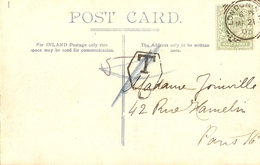 2 CPA TAXEES Royaume-Uni 1905 - St Paul Cathedral - Londres, London à Paris - Cachet Taxe - Lettres & Documents