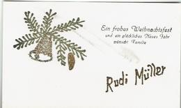 Allemagne - Carte De Voeux Personnalsée: RUDI MÜLLER Paillettes - Visiting Cards