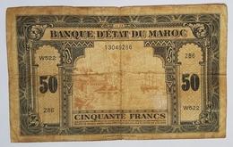 BILLET MAROC - PROTECTORAT FRANCAIS - BANQUE D'ETAT DU MAROC - P. 26 - 50 FRANCS - 01/03/1944 - PORT DE RABAT - VOILIERS - Marocco