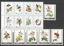K534 AJMAN FAUNA BIRDS FLOWERS 2SET MNH - Birds