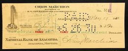 National Bank Of Anaconda Montana Pay To The Order 1930 Lotto 338 - Stati Uniti