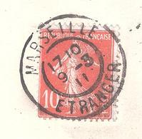 Entier Postal à 10 Centimes. Expédié De Marseille - Etrange A La Suisse GRAND HOTEL DU LOUVRE - 1906-38 Semeuse Camée
