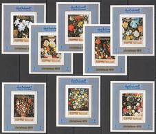 K545 !!! IMPERFORATE MANAMA ART JAN BRUEGEL FLORA FLOWERS CHRISTMAS !!! 8BL MNH - Plants