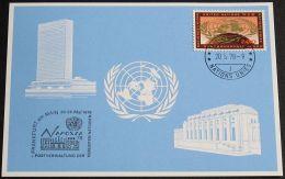 UNO GENF 1978 Mi-Nr. 65 Blaue Karte - Blue Card Mit Erinnerungsstempel FRANKFURT - Briefe U. Dokumente