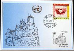 UNO GENF 2001 Mi-Nr. 322 Blaue Karte - Blue Card - Briefe U. Dokumente