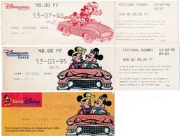 Lot De 6 Tickets De Parking Voiture ( Billet D' Entrée ) Eurodisney / Disneyland Paris DISNEY - Tickets D'entrée