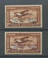 1931 Egypte. Avion 3 Et 4 *  Zeppelin. Cote 140,-E. Neufs Avec Très Légère Trace De Charnière - Airmail