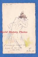 CPA Dessinée / Peinte à La Main , Signature à Identifier - 1916 - Femme Demi Nue ? - Conte De Piron - Erotisme - Künstlerkarten