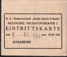 ! Eintrittskarte 1941 KDF Theater - Guerre 1939-45