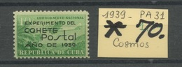 1939. CUBA. Avion 31. Fusée Postale. Cote 70,- Euros Charnière Très Propre - Poste Aérienne