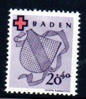 Baden  / N 39 / 20 + 40 Pf  Violet / NEUF Avec Trace De Charnière - Baden