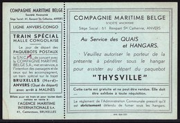 RARE !! CARTE D'ENTREE POUR ASSISTER AU DEPART DU PAQUEBOT THYSVILLE - LIGNE ANVERS CONGO - COMPAGNIE MARITIME BELGE - Documents Historiques
