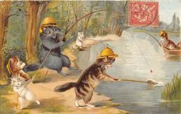 1904 Lot N°1 De 5 Cartes Postales Anciennes De Chats Humanisés. Voir Les Scans Recto-verso Pour L'état. - Cartes Postales