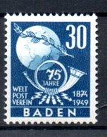 Baden  / Série N 57  / 30 Pf Bleu /  NEUF Avec Trace De Charnière - Bade