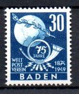 Baden  /  N 57  / 30 Pf Bleu /  NEUF Avec Trace De Charnière - Baden