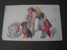 Dackel Und Kinder Sign. 1914, Leicht Eckrund - Hunde