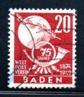 Baden  /  N 56  / 20 Pf Rouge /  Oblitéré - Baden