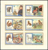 104 - Fujeira  MNH ** Mi N° 896 / 901 B Non Dentelé (imperforate) Scout (scouts And Animals Jamboree) éléphant Horse - Fujeira