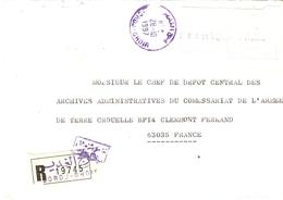 Algérie 1997 - Lettre Recommandée De Bordj Gehdir à Clermont Ferrand - AA Commissariat De L'armée De Terre/Crouelle - Algérie (1962-...)