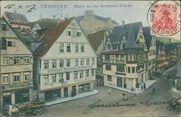 AK Tübingen, Partie An Der Krummen Brücke Mit Colonial-Material & Farbwaren Gustav Steiner, O 1907, Eckknicke (30609) - Tuebingen