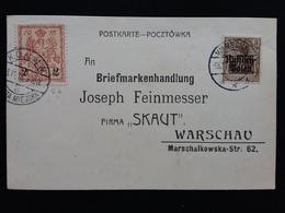 GERMANIA REICH - Occupazione Tedesca Della Polonia 1915 - Cartolina Con Francobollo Tedesco E Francobollo Varsavia - Deutschland