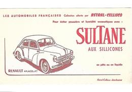 BUVARD  ASTRAL - CELLUCQ  SULTANE  Aux  Silicones    Avec  Automobile  RENAULT  4 CV - Buvards, Protège-cahiers Illustrés