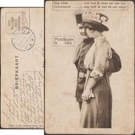 Pays-Bas 1914. Carte De Franchise Militaire. Carte Humoristique. Mobilisation. Soldat Et Jeune Femme, Chapeau & Feuiles - Textile