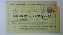H8.1  France- Paris - Agence F.Le Bourgeois - Excursion A Versailles - Services Automobiles  1931 - Ticket - Cars