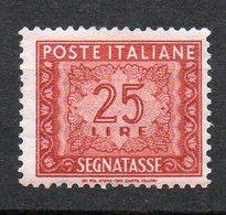 1947 Repubblica  Segnatasse N. 107  25 Lire Fil. Ruota Nuovo MLH* - 6. 1946-.. Republik