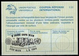 UNITED NATIONS VIENNA  5 JAHRE UNPA Briefmarkenausstellung On Int. Reply Coupon Reponse IRC IAS Antwortschein La23 - Briefmarkenausstellungen