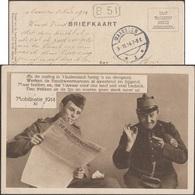 Pays-Bas 1914. Carte De Franchise Militaire. Carte Humoristique. Mobilisation. Soldat Lisant Son Journal En Fumant - Piante Velenose