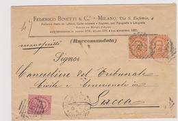 Milano-Lucca In Raccomandata 4.10.1888, Federico Binetti & C, Milano, Fabbrica Buste Da Lettere - 1878-00 Humbert I