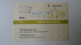 H8.5 Interflug -DDR Airline - Breakfast Ticket  M 3,-(4,50 Overprint)  For MALEV 8011 Flight Passenger  Ca 1960-70's - Transportation Tickets