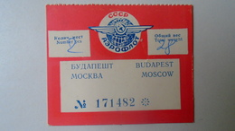 H8.6  Luggage Label Aeroflot -Russia  URSS CCCP - Budapest Moscow  Flight -Aiplane Airline - Transportation Tickets
