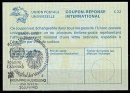 UNITED NATIONS VIENNA  UNAUSPHILA 85  26.06.85  On Int. Reply Coupon Reponse IRC IAS Antwortschein La23  ( No. 2 ) - Briefmarkenausstellungen